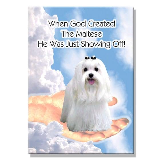 Maltese God Showing Off Fridge Magnet