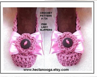 Crochet pattern slippers - child age 4 up to adult XL - pdf pattern - #734 PINK LADY Slippers - clothing, accessories, shoes,