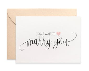 I can't wait to marry you Card, Husband to be card, Wife to be Card, Wedding Card, Script Font with Heart, WED063, Handmade Card for Husband