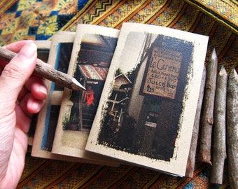 Cinema Travel Journal 18 - Mini Travel Size - Le Cinema, Laos - Travel Pocket Diary - Rustic Signboard