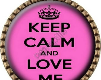 Bronze Cabochon pendant - Keep calm and Love me (532)