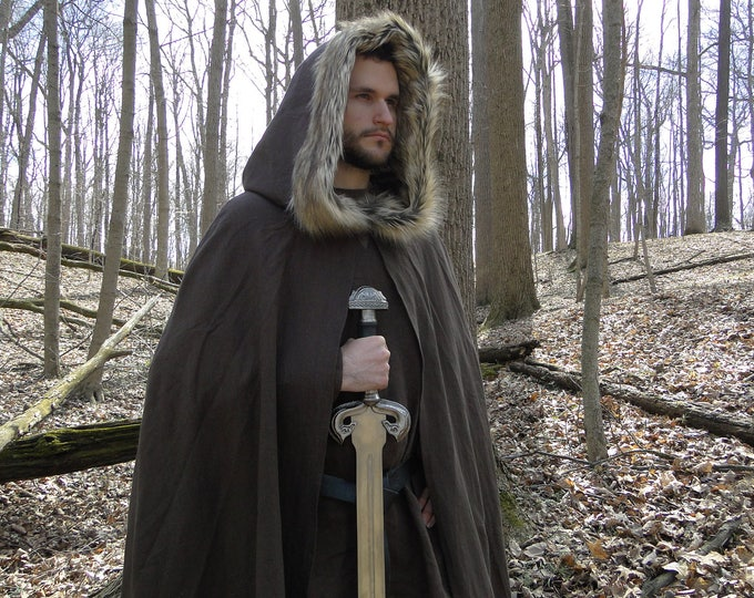 Medieval Fur Trimmed Cloak, Viking Cape, Hooded - Choose Your Linen & Faux Fur Color