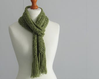 Fern green scarf with fringe - incredibly soft - cashmere, silk and alpaca - lace scarf - exclusive and unique hand dyed yarn