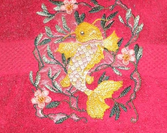 Bath towel pair Terry cloth embroidered - asian style goldfish / koi - READY TO SHIP - previously used
