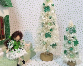 St Patrick's Day Bottlebrush Trees ( Set of 2) with Shamrocks and Green Ornaments
