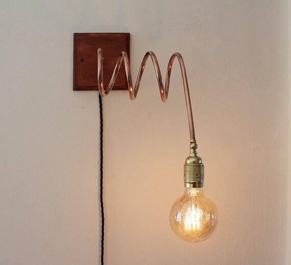 Applique in rame legno e ottone lampada da parete fatta a for Applique da parete legno