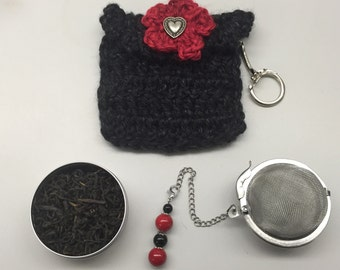 3 Piece Tea Time Gift Set_Black w/Red Flower