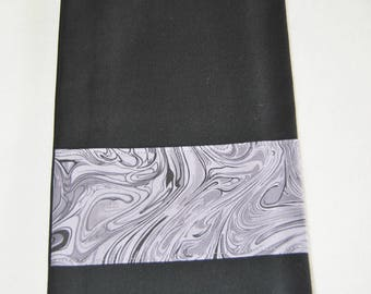 Tea towel with mauve and grey marble border