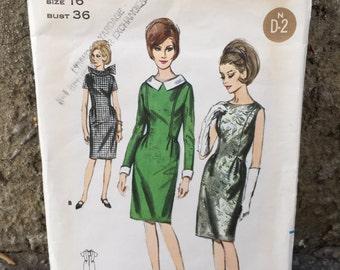 60's Butterick 3762 Pattern Misses' One Piece Dress - Size 16 Bust 36