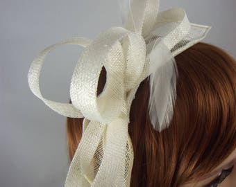 Ivory Cream Sinamay Loop & Leaf Fascinator with Feathers - Occasion Wedding Races