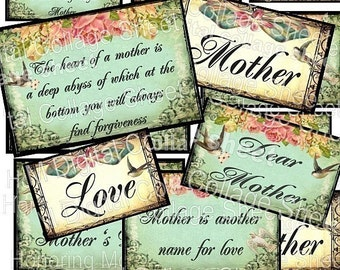 DeaR MoTHeR shabby pink roses bows birds digital collage sheet download inspirational quotes words labels gift hang tags altered art scrapbooking paper ephemera supplies