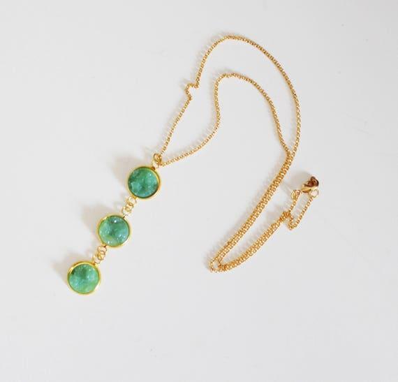 Long necklace mi, with 3 pendant cabochons light mint green, Druzy