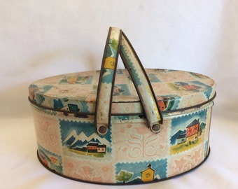 Vintage Decorative Oval Tin Box With Handles