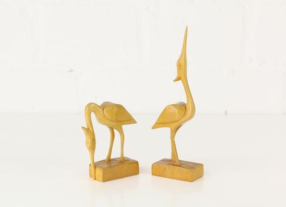 Two heron bird sculptures in light wood h 20 cm Midcentury modern design, rar