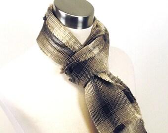 Brown Plaid Scarf - Brown, Taupe Plaid Wool Scarf - Long Plaid Scarf - Plaid Woven Wool Scarf - Men's Plaid Scarf - Men's Wool Scarf