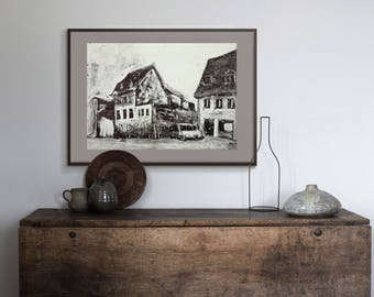 Monotype Old Town Architecture quality prints from original Fine Art Print / A4 A3  Wall Art Home Decor / Black & White Illustration/