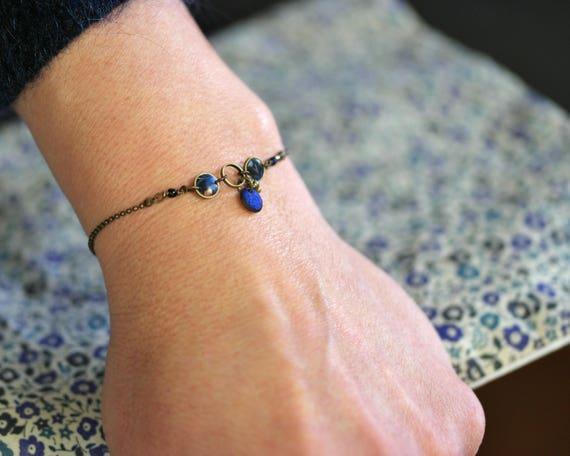 Fine brass bracelet, blue bracelet, boho bracelet, handmade vegetal patterns, blue beads, 'Nelumbo'