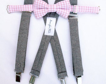 Boys Suspender and Bow Tie Set, Toddler Bow Tie Suspender Set, Ring Bearer Outfit, Page Boy Outfit, Kid, Toddler Formal Wear, Boyish Charm