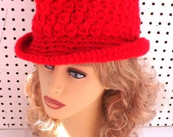 Red Crochet Womens Fedora Hat,  Red Crochet Hat,  Red Hat,  Womens Hat Trendy,  Womens Crochet Hat,  Andy Crochet Fedora Hat for Women
