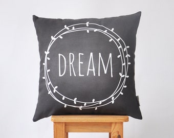 "Modern Kids Pillow, Decorative Pillow, Nursery Pillow, Throw Pillow, Chalkboard Pillow, Dream Pillow 16"" x 16"""