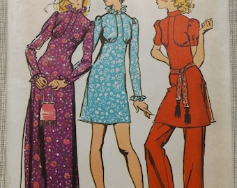 Dress with Empire Seaming and High Round Neckline and Pants in Size 9/10 All 12 Pieces 1970s Vintage Simplicity Sewing Pattern 9519