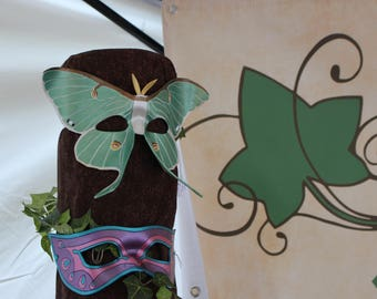 Leather Luna Moth Mask - Made to Order