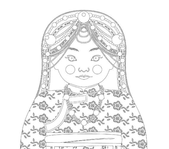 Tibetan Doll Traditional Dress Coloring Page Printable Matryoshka