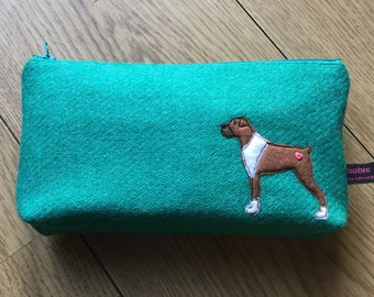 Boxer dog zipped pouch, jade Harris Tweed, makeup bag, large zipped pencil case, dog lover gift, boxer lover
