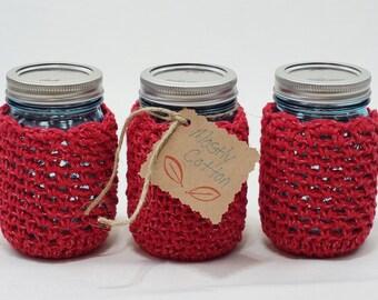 Crocheted Cozy, Red Mason Jar Cozies Coffee Cozy, Gift Ideas For Mom, Gift Ideas for Aunt, Gift Ideas for Teen,