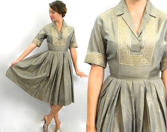 50s Taupe Silk Shirtwaist Dress | Gold Brown Dress |  Small