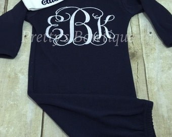 Newborn baby coming home outfit-- monogram gown -- Monogramed newborn gown and hat -- personalized newborn beanie