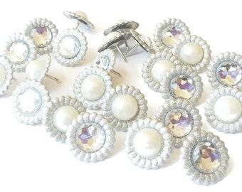 Push Pins Silver Rhinestones & Pearls Mix Wedding Bridal Shower Glamorous Bling Cubicle Decor Decorative Cork Board Pins Thumbtacks, 12/set