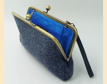 Harris Tweed clutch bag with wristlet, black and grey herringbone tweed bag, handbag with optional personalisation