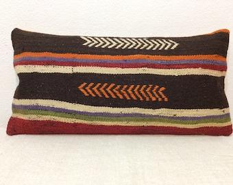 "Kilim Pillow Cover 12""x24"" 30x60cm Lumbar,Handmade,Handwoven,Turkish Kilim,Vintage,Home Living,Interior"