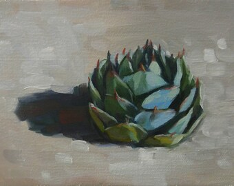 EXAMPLE ONLY. 5x7 Parry's Agave, Desert Plant, Original Oil Painting, Available