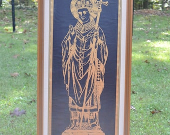 Vintage Becket Print Framed Wall Decor Religious Theme Black Gold Panchosporch