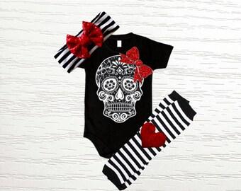Girls Sugar Skull Outfit- Sugar Skull Bodysuit with Black & White Stripe Leg Warmers, Red Sequin Bow Band, Baby Shower Gift, Skull Shirt