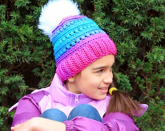 Custom puff stitch crochet Hat for Women size ONLY with faux fur pom pom will fit a child.