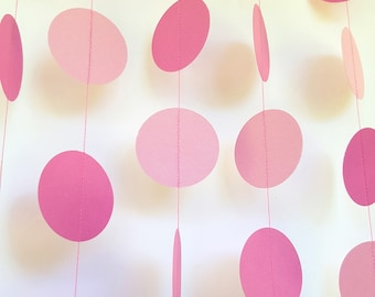 FAIRY FLOSS - Pink Paper Circle Garland - Party/Room Decoration