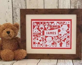 Personalised animals paper cut in wood effect frame