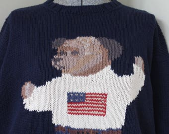 Ralph Lauren Bear Sweater American Flag Sweater Blue Cotton Polo Hand Knit Sweater Patriotic Bear Teddy Bear RL Red White and Blue Vintage