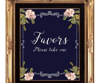 navy favors sign, favors sign, printable wedding favors sign, digital favors sign, instant download, 8x10, YOU PRINT