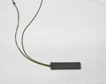 Mens necklace etsy black bar necklace mens necklace unisex thick black tag pendant necklace bar necklace personalized necklace aloadofball Gallery