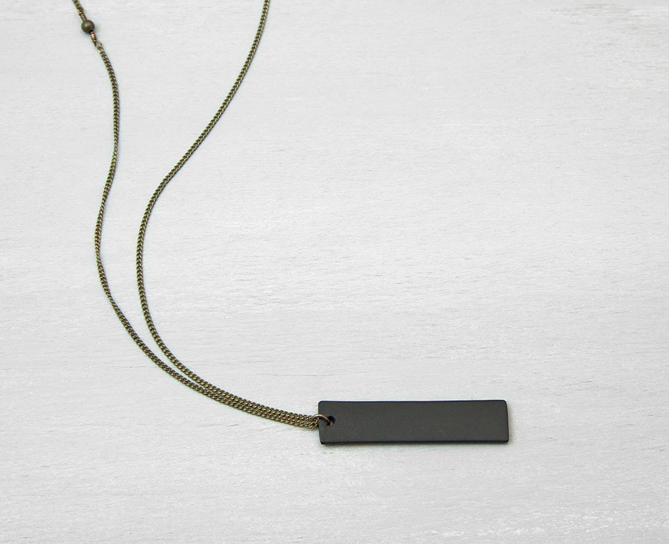 Black bar necklace mens necklace unisex thick black tag zoom mozeypictures Gallery