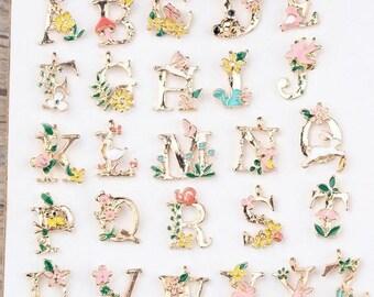 50 pcs Small Alphabet Charm  Enamel Pendants Chunky Pendants Enamel Pendants for Kids Necklace Wholesale