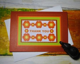 Thank You Card, Orange Flower, Say Thanks, Thanks, Brown Cards