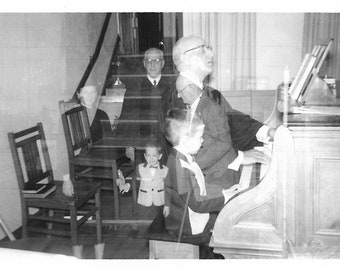 """Vintage Snapshot """"Chair Legs"""" Double Exposure Woman's Legs Extend From Bottom Of Chair Older Man Playing Church Organ Weird Funny Old Photo"""