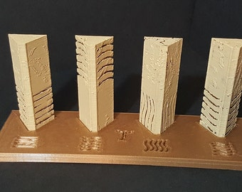 The Fifth Element Miniature Stone Set with display base, Unique!