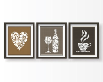 Brown Kitchen decor, Kitchen wall art, Kitchen prints, Kitchen wall decor, Kitchen poster, Kitchen Set of 3 prints, Brown dining room decor