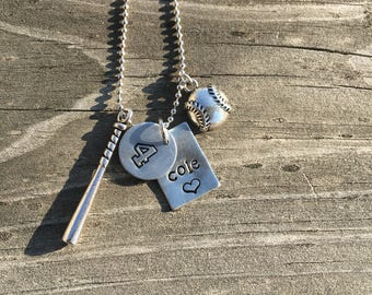 Personalized Baseball Hand-Stamped  Charm Necklace